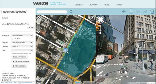Google-Satellitenbild in Waze (Screenshot: Google)