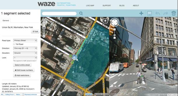 Google-Satellitenbild in Waze (Screenshot: Google)