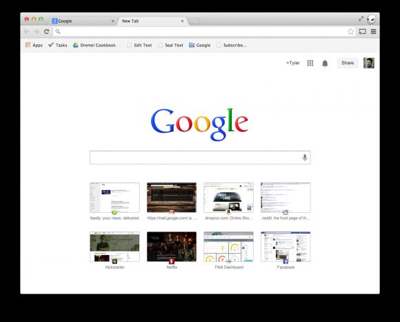 """Überabeitete Seite """"Neuer Tab"""" in Chrome"""