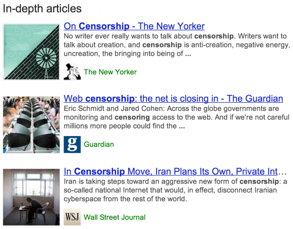 """Eine Suche nach """"censorship"""" liefert beispielsweise diese Hintergrundartikel (Bild: Google)."""