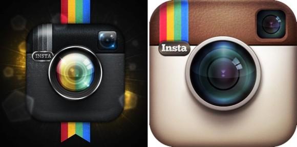 Luxogram wird sein Logo (links) überarbeiten müssen, weil es dem Original von Instagram (rechts) zu ähnlich ist (Bild: ZDNet.de).