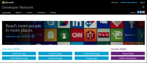 Das neue Microsoft Developer Network (Screenshot: ZDNet)