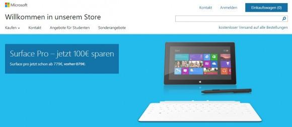 Microsoft hat das Surface Pro in Deutschland 100 Euro billiger gemacht (Screenshot: ZDNet).