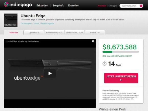 Das Ubuntu-Smartphone Edge ist eine der Kampagnen auf Indiegogo, die ihr Finanzierungsziel nicht erreicht haben (Screenshot: ZDNet.de).