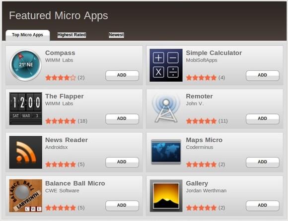 Ein eigener App Store bietet Micro Apps für die Smartwatch (Bild: WIMM Labs).