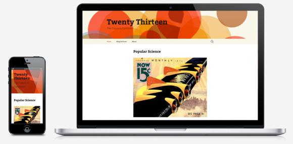 So sieht das neue Theme Twenty Thirteen auf Desktop und Smartphone aus (Bild: WordPress.org).