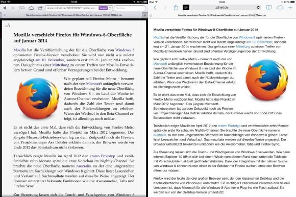 Safari: eingeschränkter Readerfunktion in iOS 7