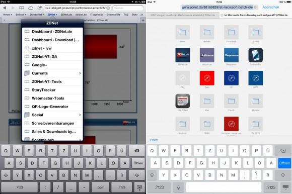iOS 7: Veränderter Zugriff auf Lesezeichen
