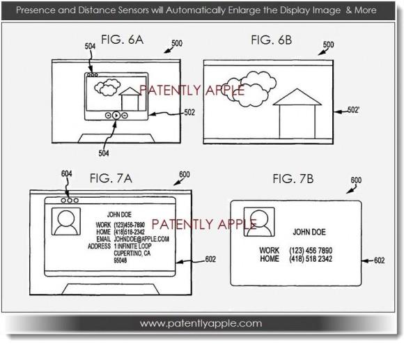 Das sensorbasierte UI passt die Darstellungsgröße abhängig von der Distanz des Anwenders an (Bild: Patently Apple)