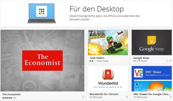 Chrome-Apps für den Desktop (Screenshot: ZDNet)