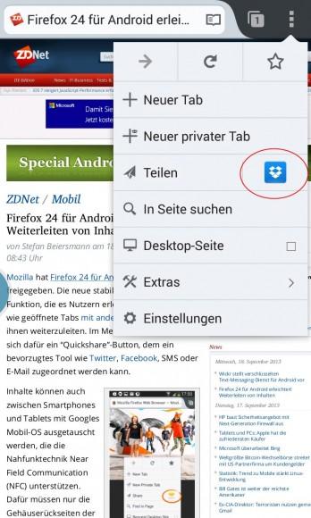 Firefox 24 für Android erleichtert Teilen von Inhalten
