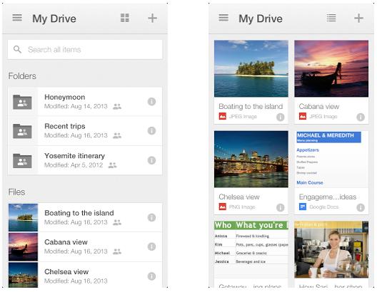 Neue Version von Google Drive for iOS bringt Karteikartenstil und verbesserte Suche (Screenshot: iTunes).