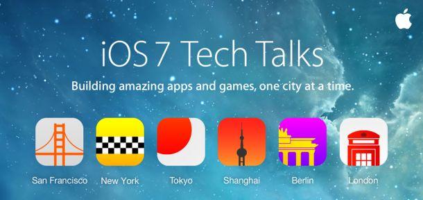 Die iOS 7 Tech Talks finden zwischen 8. Oktober und 18. Dezember in sechs Städten statt (Bild: Apple).