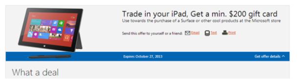 Microsoft zahlt mindestens 200 Dollar für  gut erhaltenen iPads (Screenshot: ZDNet).
