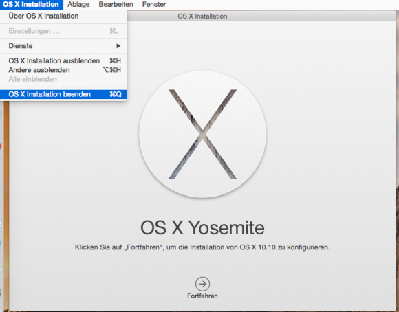 OS X 10.10 Yosemite: Installation abbrechen (Screenshot: ZDNet.de)