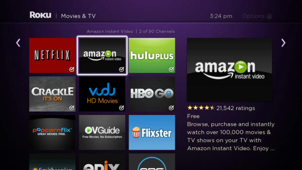App für Amazon Instant Video in der US-Settop-Box Roku (Bild: Roku)