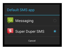 Auswahlfenster für die Standard-SMS-App unter Android 4.4 KitKat (Bild: Google)