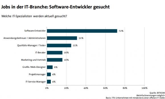 Software-Entwickler sind nach wie vor besonders gefragt (Grafik: Bitkom).