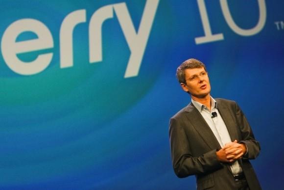 CEO Thorsten Heins bei der Vorstellung von Blackberry 10 (Bild: CNET)