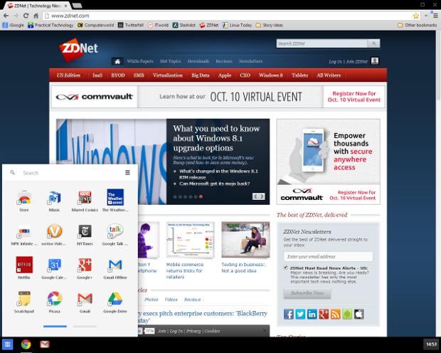 Developer-Version von Chrome in Windows 8 (Screenshot: ZDNet.com)