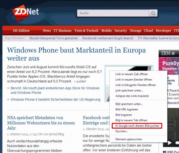 Das Kontextmenü von Chrome 30 ermöglicht einen direkten Zugriff auf die Bildersuche (Screenshot: ZDNet).