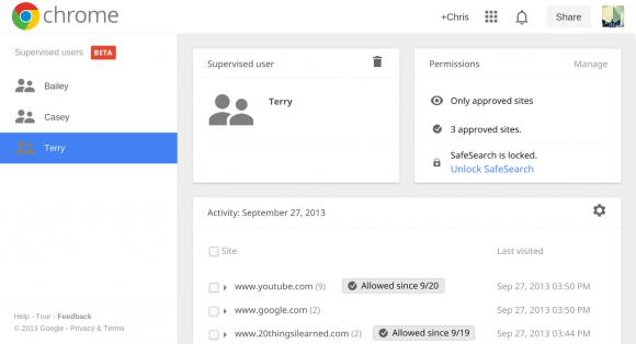 Die jüngste Chrome-Beta erlaubt die Einrichtung betreuter Nutzerkonten (Bild: Google).