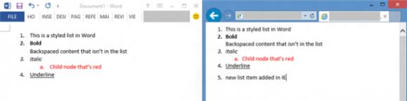 IE11 erkennt Listenformatierungen und beachtet sie beim Einfügen von Text (Screenshot: Microsoft)