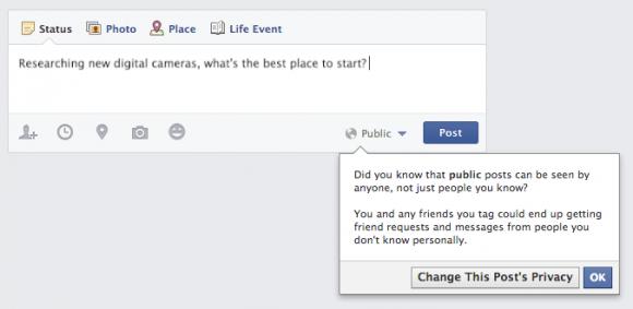 Facebook erinnert Minderjährige daran, was es heißt, einen Eintrag öffentlich zu posten (Bild: Facebook).
