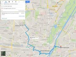 Möchte der Nutzer bei seiner Routenplanung Zwischenstopps eingeben, so kann er dies nun auch im neuen Maps-Design tun (Screenshot: ZDNet.de).