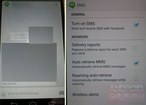 "Die kommende Hangouts-Version wird offenbar auch SMS und MMS unterstützen (Screenshots via <a href=""http://www.androidpolice.com/2013/10/07/all-but-confirmed-google-hangouts-1-3-screenshots-suggest-smsmms-integration-video-sharing-capabilities/"" target=""_blank"">AndroidPolice</a>)."