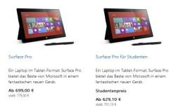 Microsoft hat den Preis fürs Surface Pro der ersten generation zum zweiten Mal gesenkt (Screenshot: ZDNet).