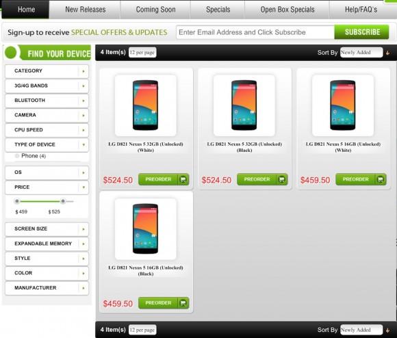 Vorverkauf Nexus 5: Negri Electronics