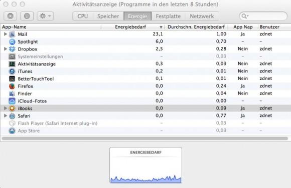 OS X Mavericks: App Nap im einsatz