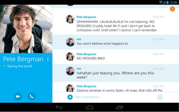 Skype 4.4 für Android bringt die neue Oberfläche auch auf Tablets (Bild: Microsoft).