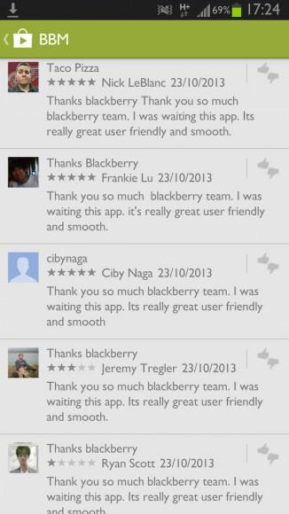 """Viele Kommentare zu BBM für Android sind offensichtlich gefälscht, da sie denselben Wortlaut verwenden (Screenshot: <a href=""""http://shkspr.mobi/blog/2013/10/whats-happening-with-bbms-android-reviews/"""" target=""""_blank"""">Terence Eden</a>)."""