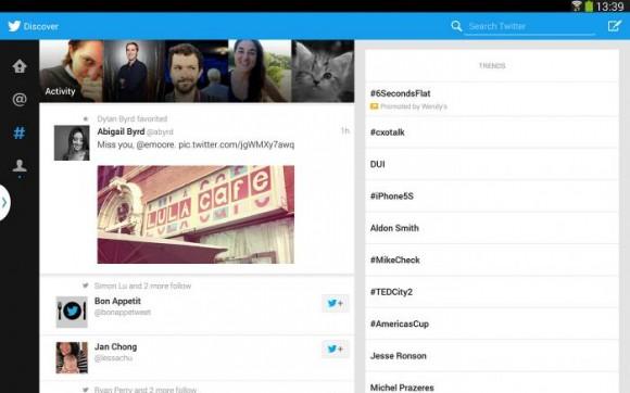 Der Twitter-Client für Android-Tablets nutzt die Bildschirmgröße voll aus (Bild: Twitter).
