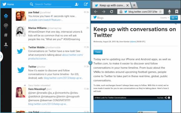Der neue Client lässt sich in der Multi-Screen-Ansicht neben einer zweiten App betreiben (Bild: Twitter).