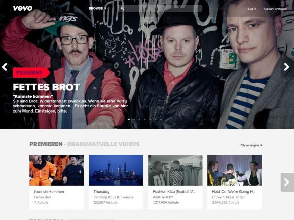 Der Vevo-Katalog umfasst rund 75.000 Musikclips (Screenshot: ZDNet.de).
