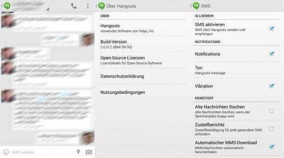 Android 4.4 Kitkat: Hangouts bietet SMS-Unterstützung