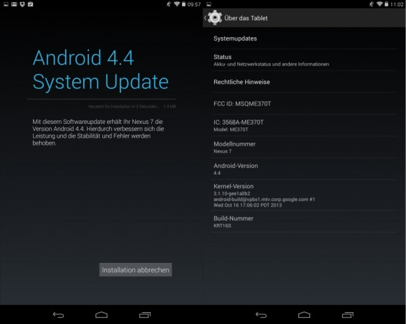Kitkat-Update: Android 4.4 KRT16S
