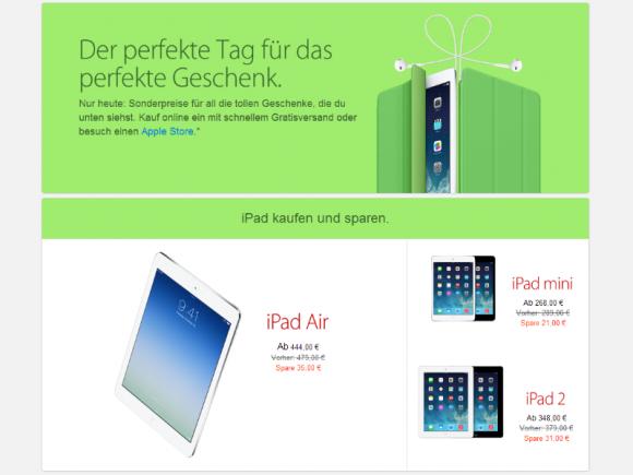 Wie in den Vorjahren gewährt Apple auch zum heutigen Black Friday Rabatte auf seine Produkte und Zubehör (Screenshot: ZDNet.de).