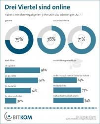 Während es bei Alter und Bildungsgrad deutliche Unterschiede bei der Internetnutzung gibt, ist die Differenz bei den Geschlechtern nur gering (Grafik: Bitkom).