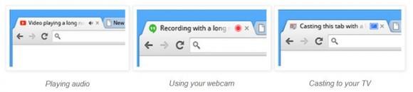 Symbole zeigen nun an, in welchen Tabs etwa Audio abgespielt oder die Webcam genutzt wird (Bild: Google).