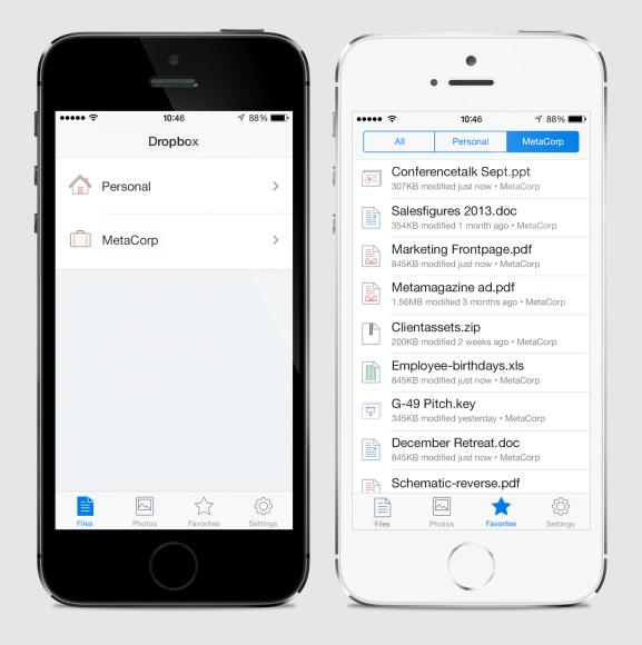 Einfacher Wechsel zwischen privaten und beruflichen Daten (Bild: Dropbox)