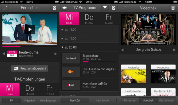 Entertain to go ist ab sofort auch auf dem iPhone verfügbar (Bild: Telekom).