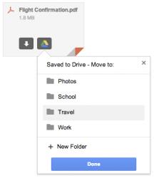 Nutzer können aus Gmail heraus direkt Dateianhänge auf Googles Online-Speicher Drive ablegen (Bild: Google).