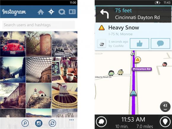 Instagram (links) und Waze liegen ab sofort auch für Windows Phone 8 vor (Bild: Microsoft).
