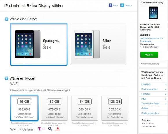 Das iPad Mini Retina ist hierzulande ab 389 Euro erhältlich (Screenshot: CNET.de).