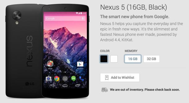 In den USA ist das schwarze Nexus 5 mit 16 GByte derzeit ausverkauft (Screenshot: ZDNet).