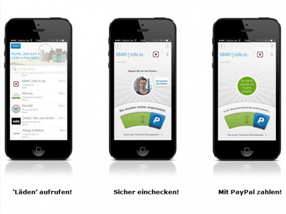 Check-in setzt die Paypal-App für Android oder iPhone voraus (Bild: Paypal).